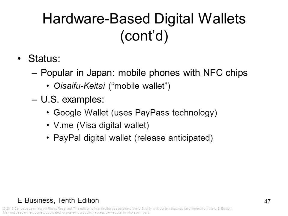 Hardware-Based Digital Wallets (cont'd)