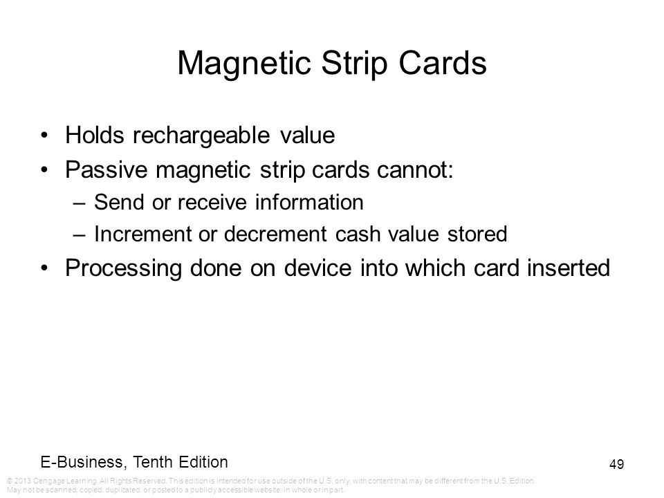 Magnetic Strip Cards Holds rechargeable value