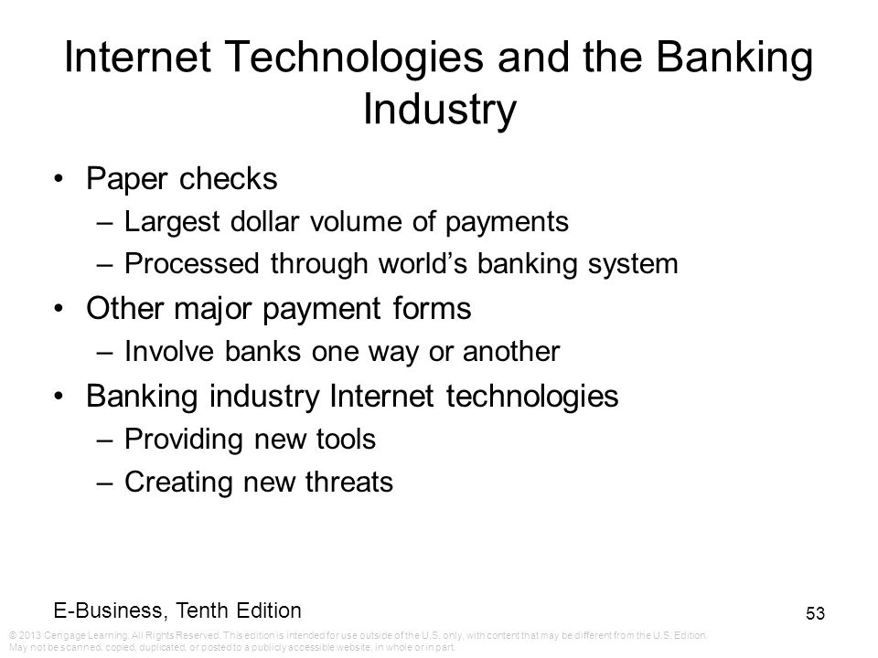 Internet Technologies and the Banking Industry