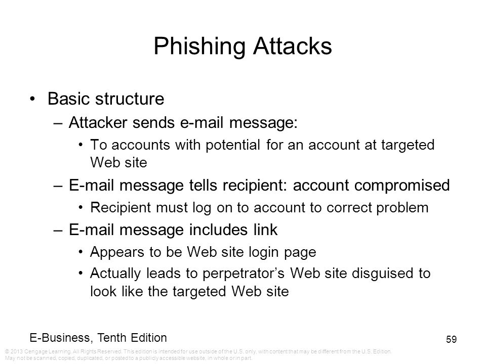 Phishing Attacks Basic structure Attacker sends e-mail message: