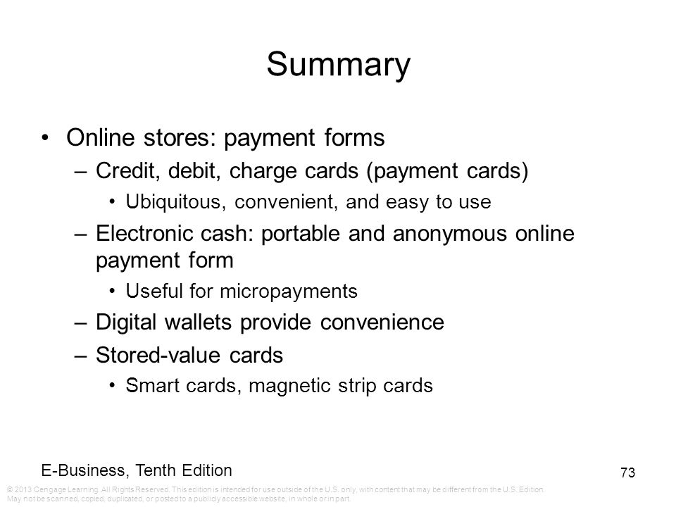Summary Online stores: payment forms