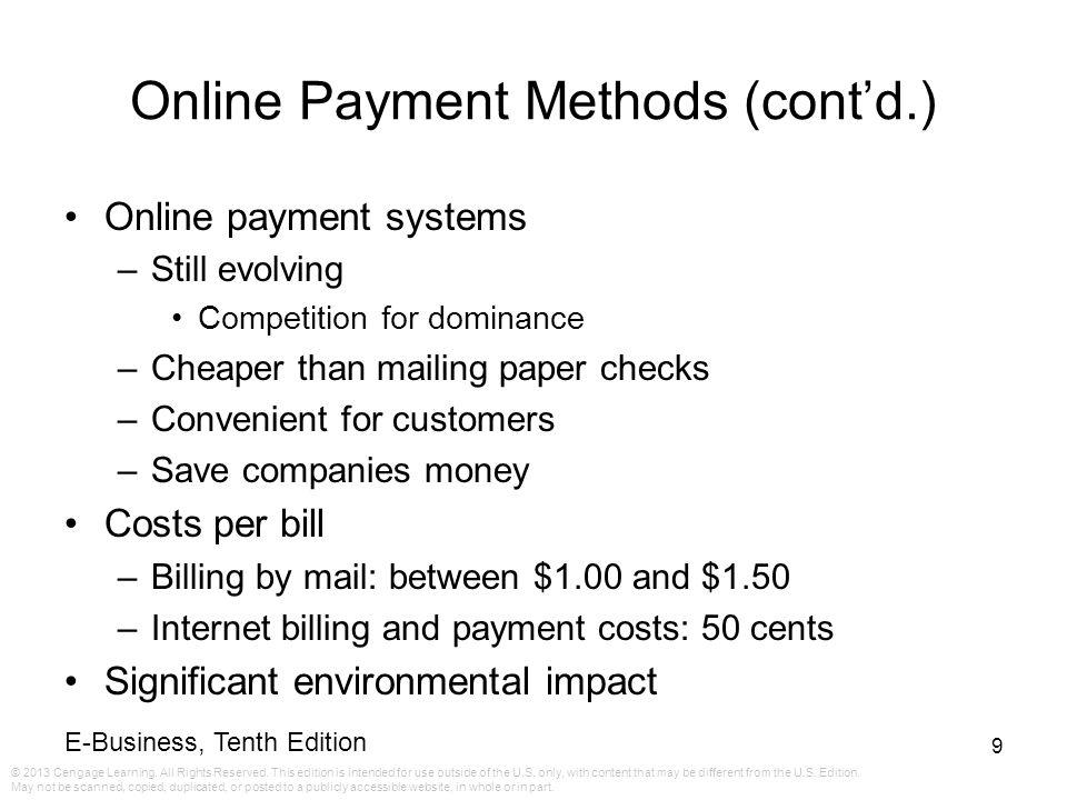 Online Payment Methods (cont'd.)