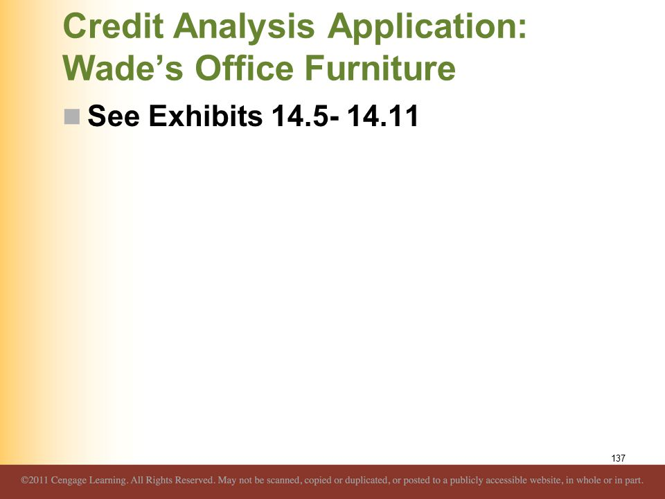 Credit Analysis Application: Wade's Office Furniture