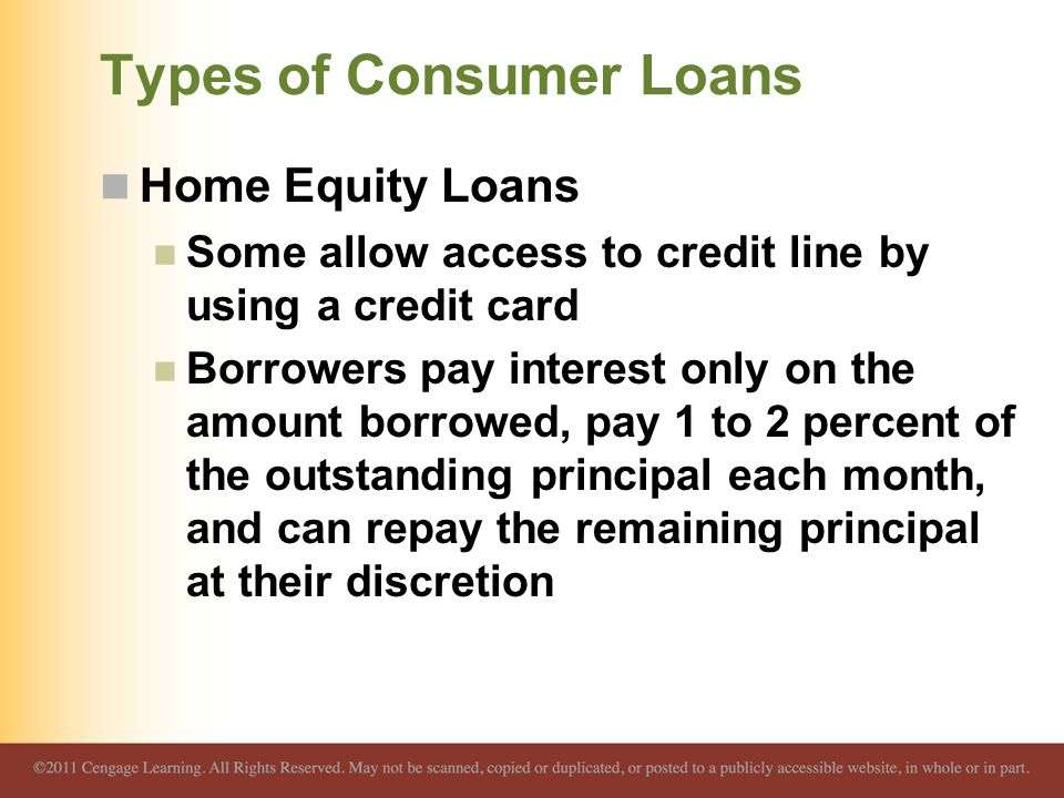 Types of Consumer Loans