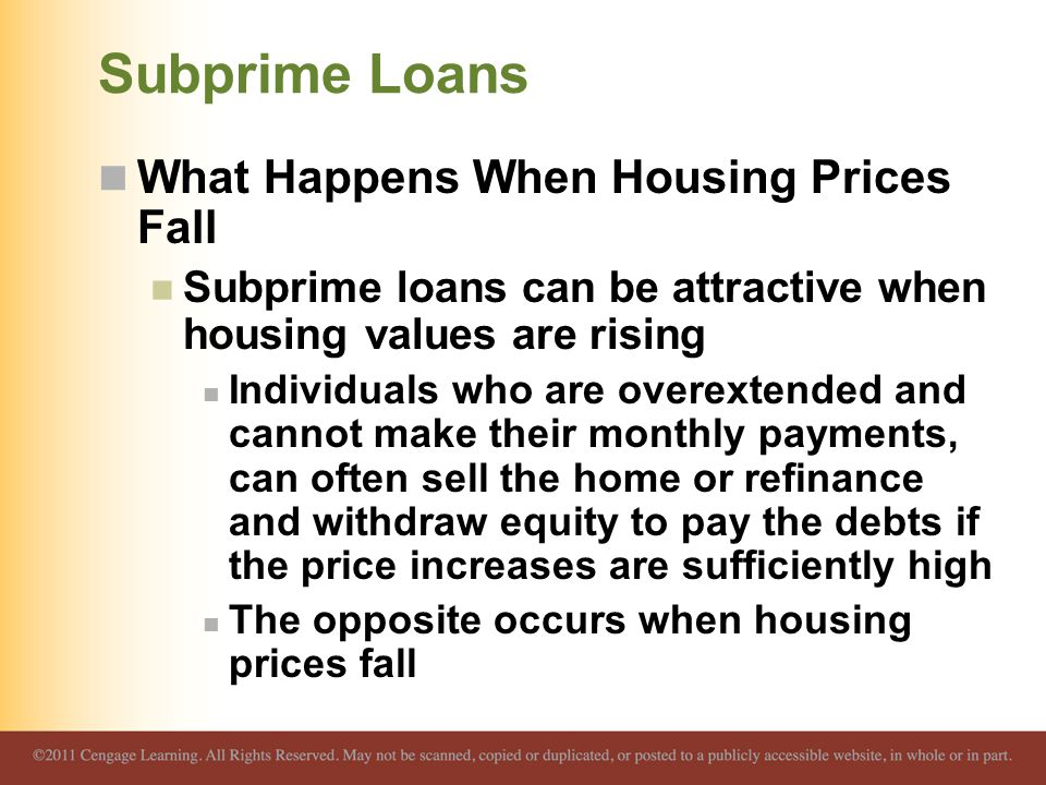 Subprime Loans What Happens When Housing Prices Fall
