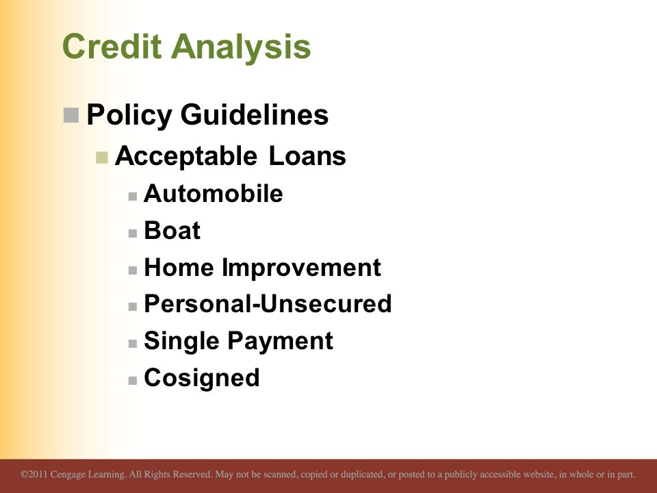 Credit Analysis Policy Guidelines Acceptable Loans Automobile Boat