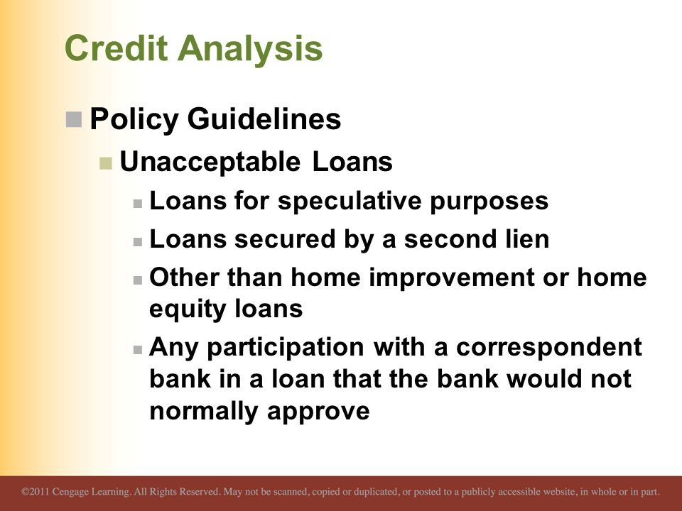 Credit Analysis Policy Guidelines Unacceptable Loans