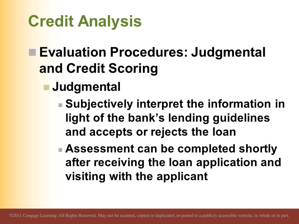 Credit Analysis Evaluation Procedures: Judgmental and Credit Scoring