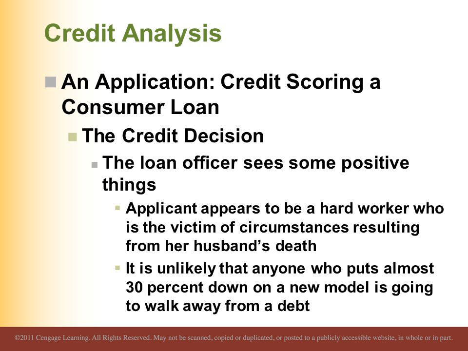 Credit Analysis An Application: Credit Scoring a Consumer Loan
