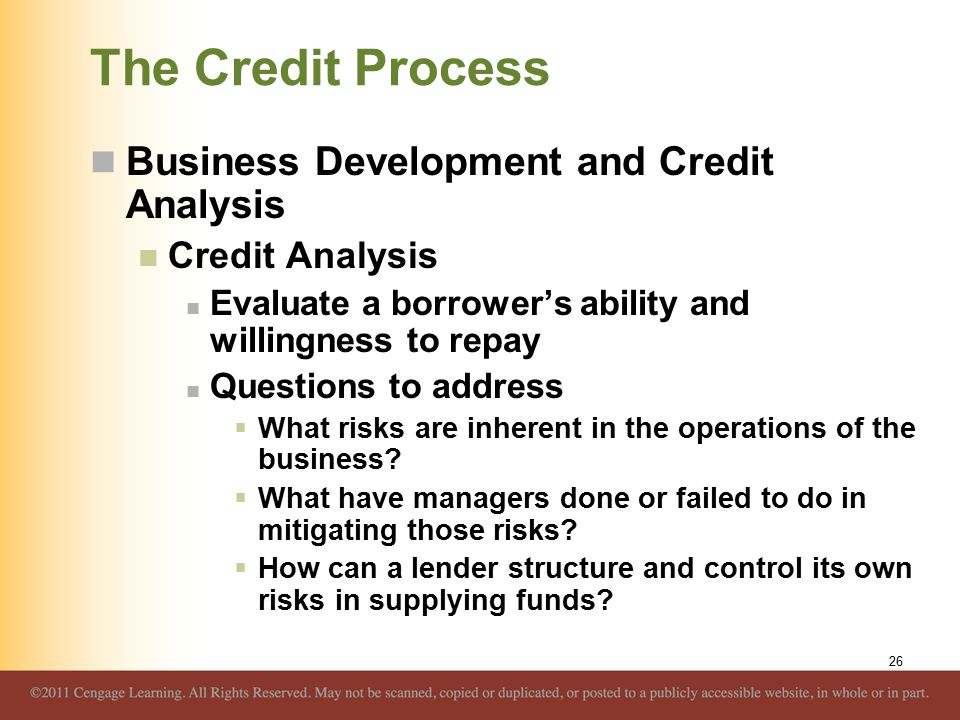 The Credit Process Business Development and Credit Analysis