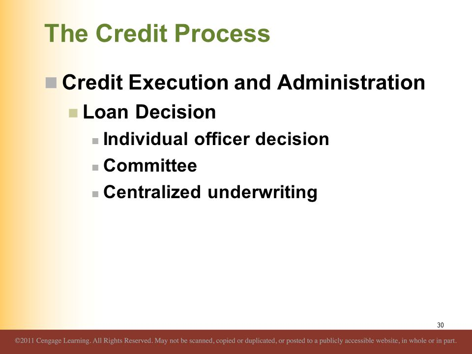 The Credit Process Credit Execution and Administration Loan Decision