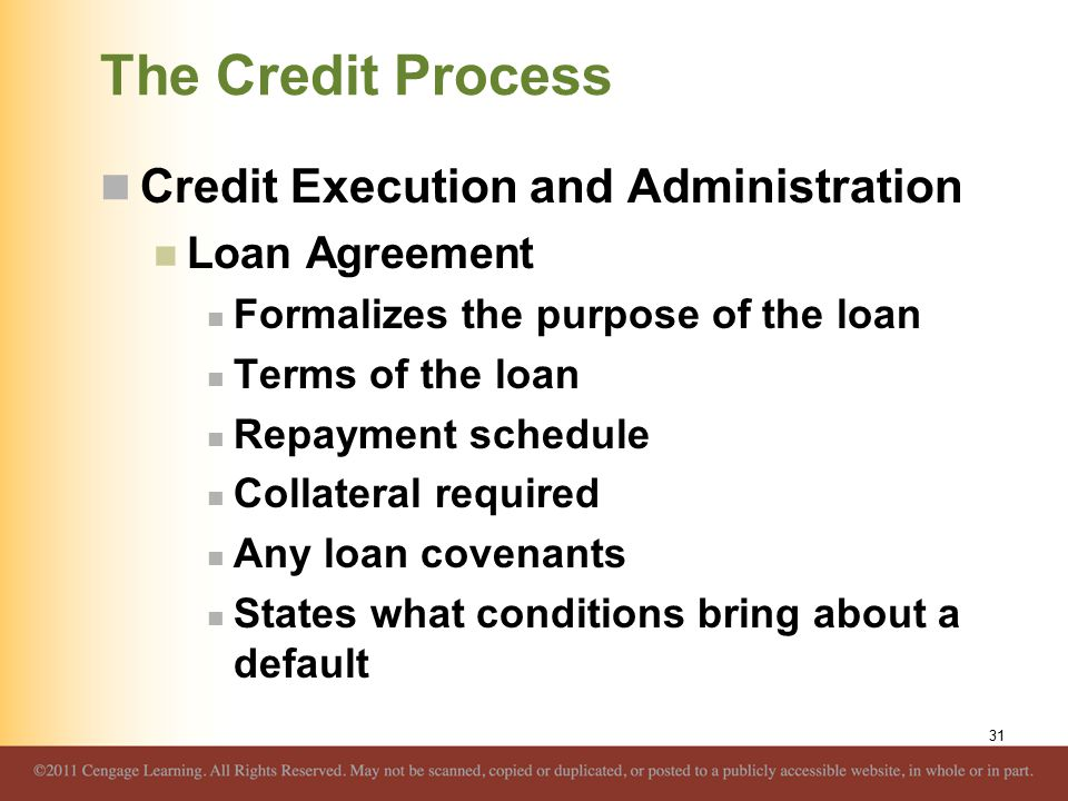 The Credit Process Credit Execution and Administration Loan Agreement