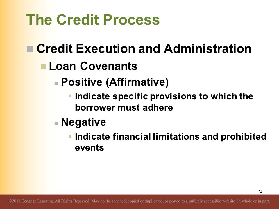 The Credit Process Credit Execution and Administration Loan Covenants