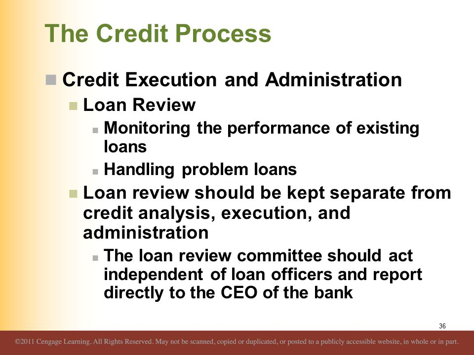 The Credit Process Credit Execution and Administration Loan Review