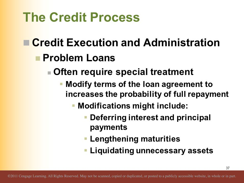The Credit Process Credit Execution and Administration Problem Loans