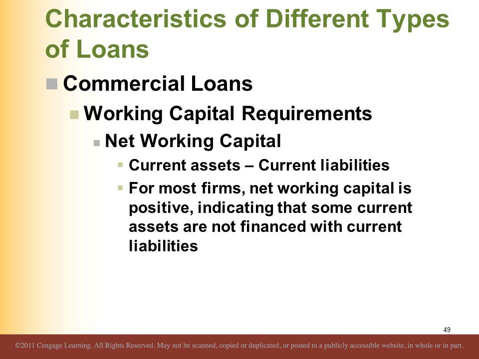 Characteristics of Different Types of Loans