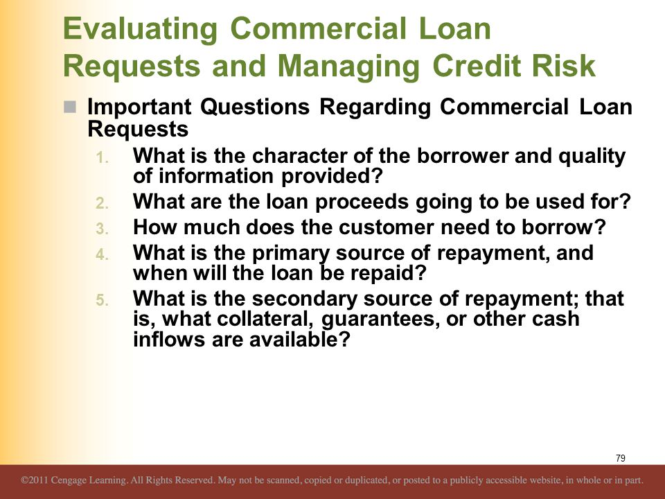 Evaluating Commercial Loan Requests and Managing Credit Risk