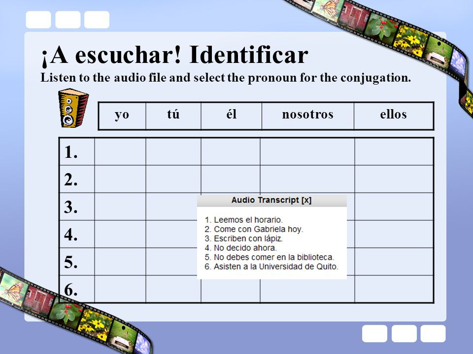 ¡A escuchar! Identificar Listen to the audio file and select the pronoun for the conjugation.