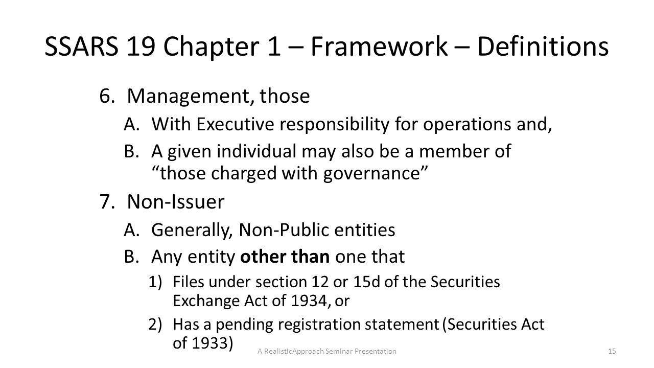 SSARS 19 Chapter 1 – Framework – Definitions