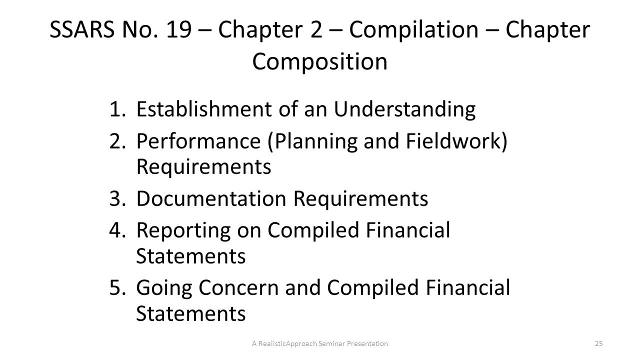 SSARS No. 19 – Chapter 2 – Compilation – Chapter Composition