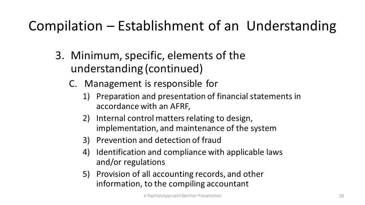 Compilation – Establishment of an Understanding