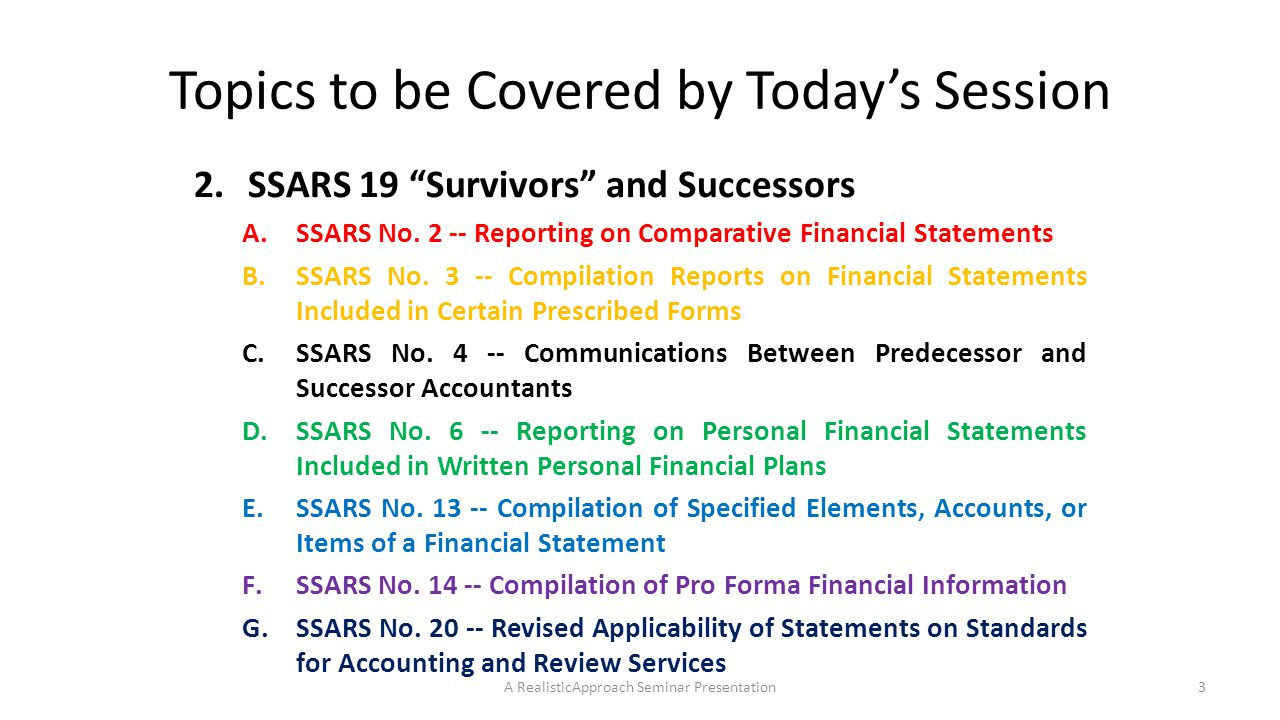 SSARS 21 – A Summary of Preparation Services and Compilation Engagements