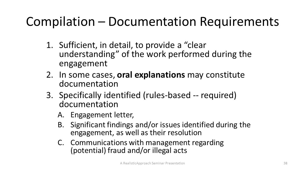 Compilation – Documentation Requirements