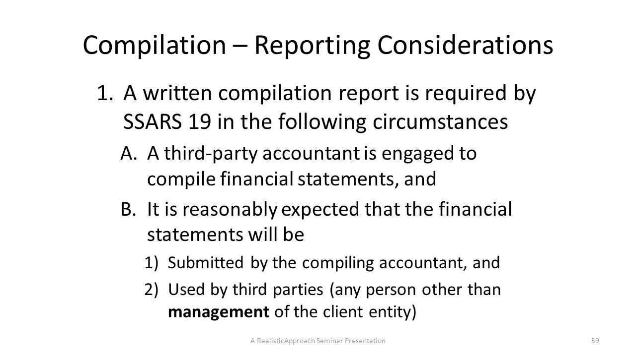 ssars 19 compilation report personal financial statements