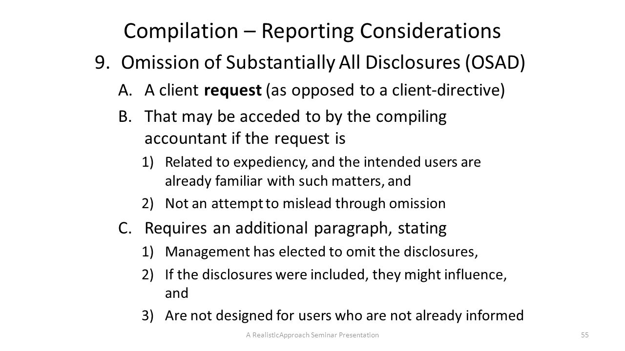 Compilation – Reporting Considerations