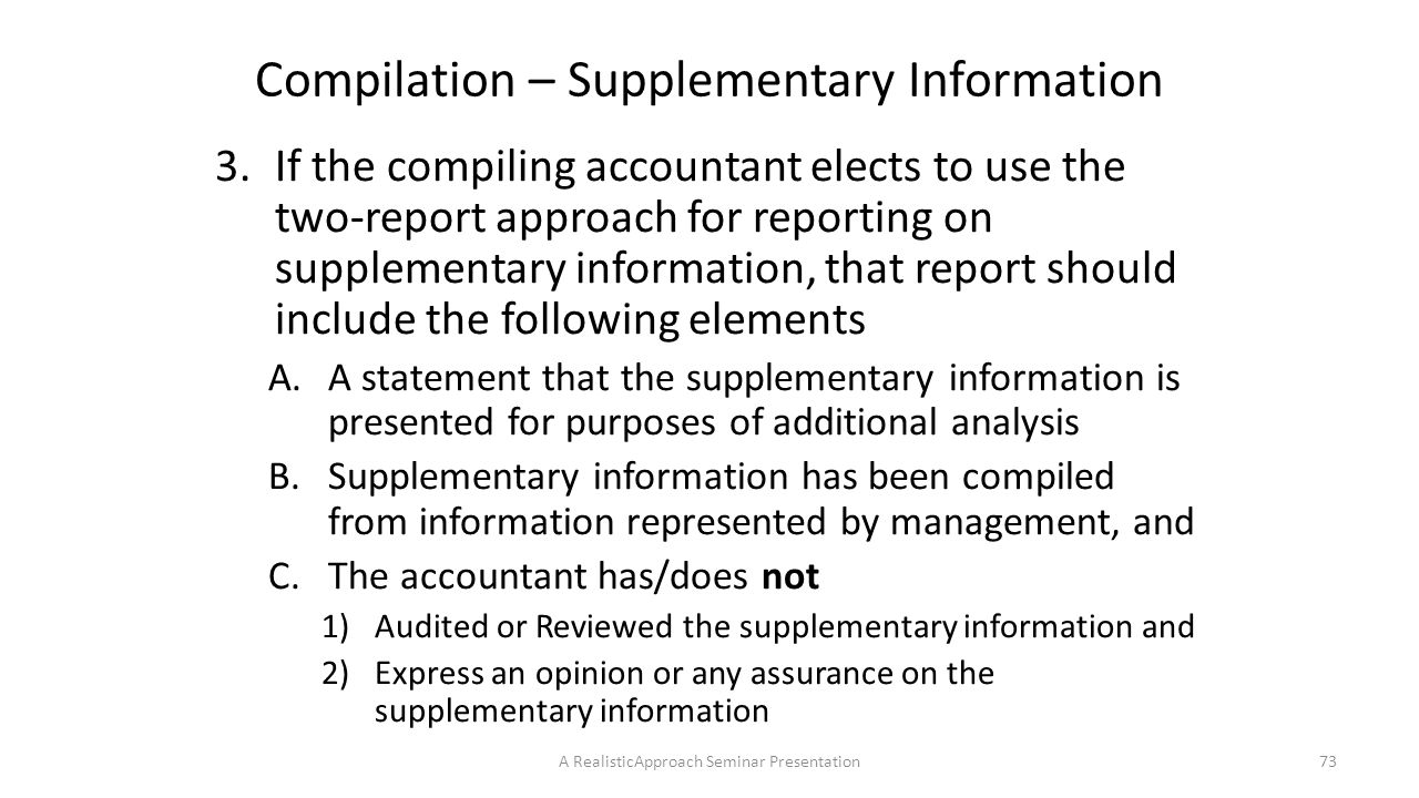 Compilation – Supplementary Information