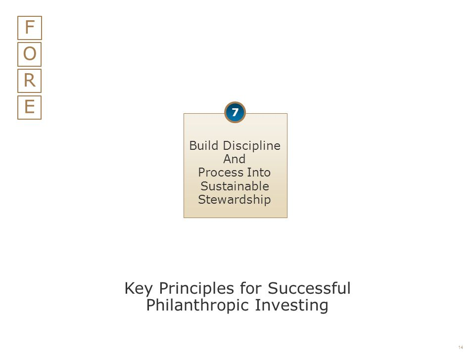 F O R E Key Principles for Successful Philanthropic Investing