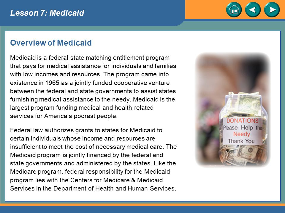Lesson 7: Medicaid Overview of Medicaid