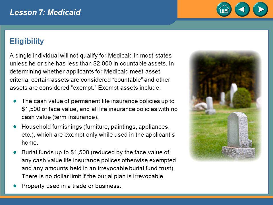 Lesson 7: Medicaid Eligibility