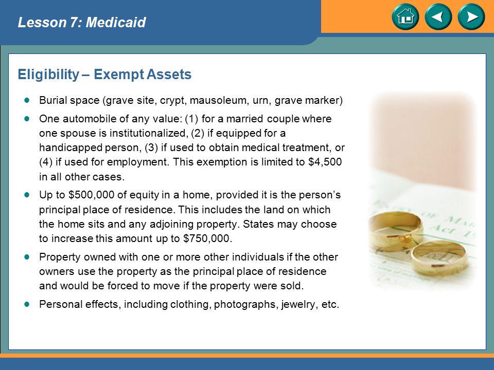 Eligibility – Exempt Assets