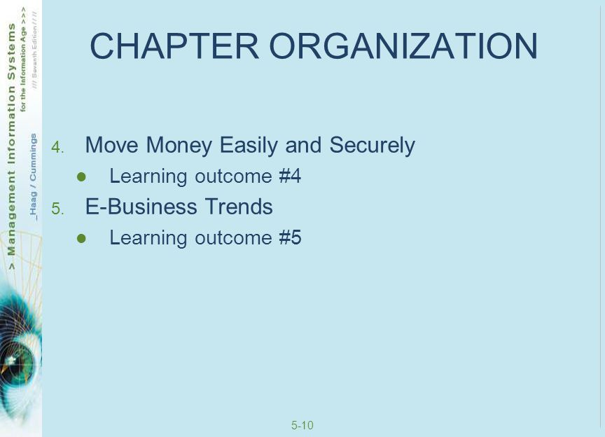 CHAPTER ORGANIZATION Move Money Easily and Securely E-Business Trends