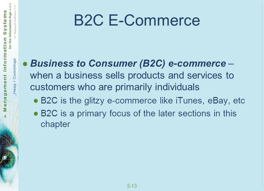 B2C E-Commerce Business to Consumer (B2C) e-commerce – when a business sells products and services to customers who are primarily individuals.