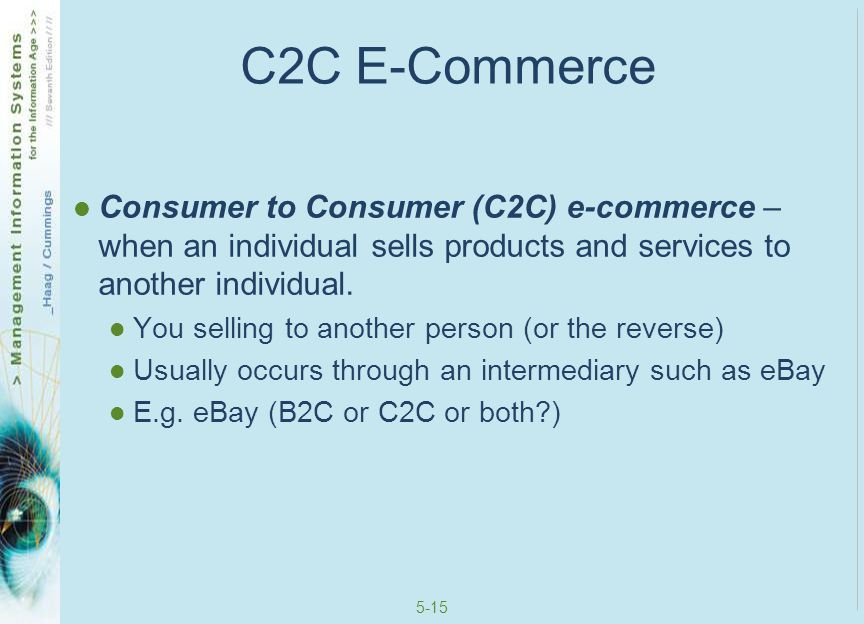 C2C E-Commerce Consumer to Consumer (C2C) e-commerce – when an individual sells products and services to another individual.