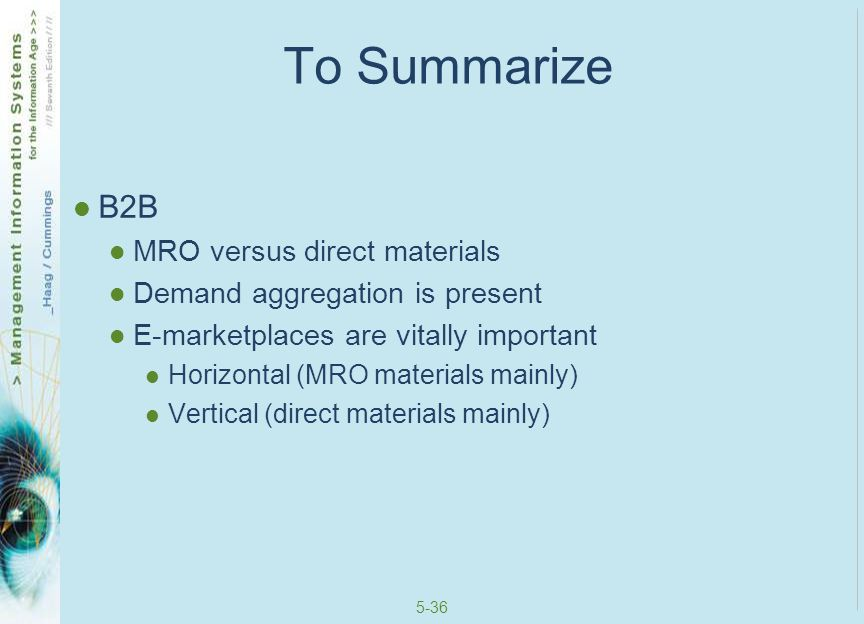 To Summarize B2B MRO versus direct materials