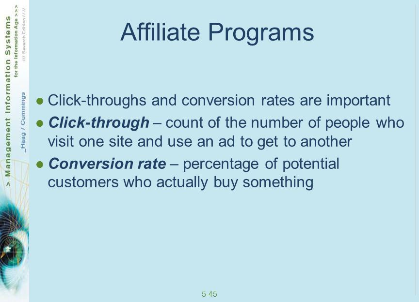 Affiliate Programs Click-throughs and conversion rates are important