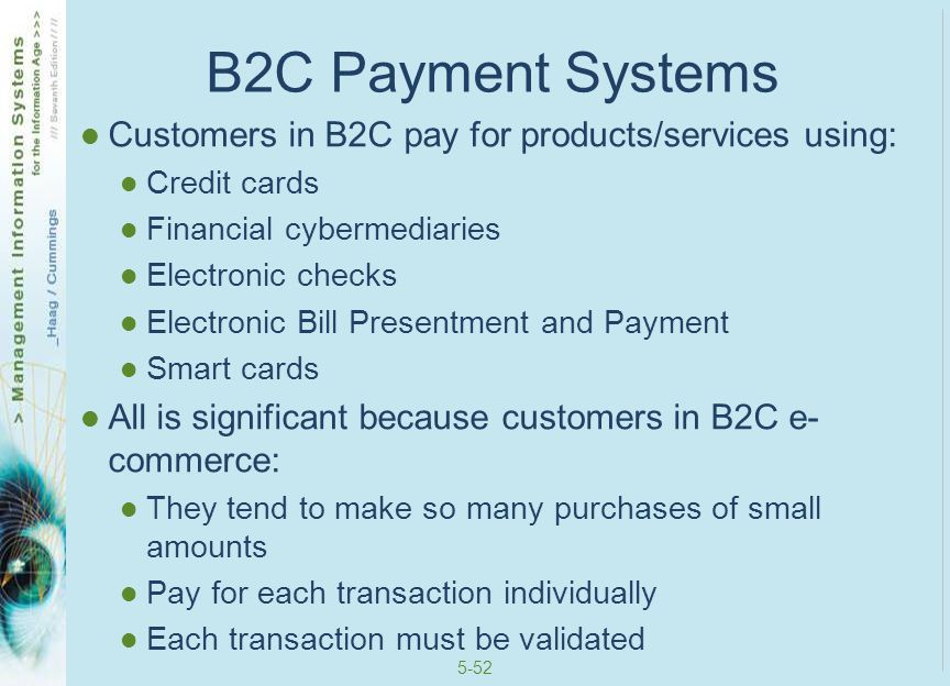 B2C Payment Systems Customers in B2C pay for products/services using: