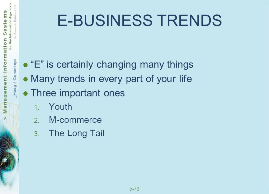 E-BUSINESS TRENDS E is certainly changing many things