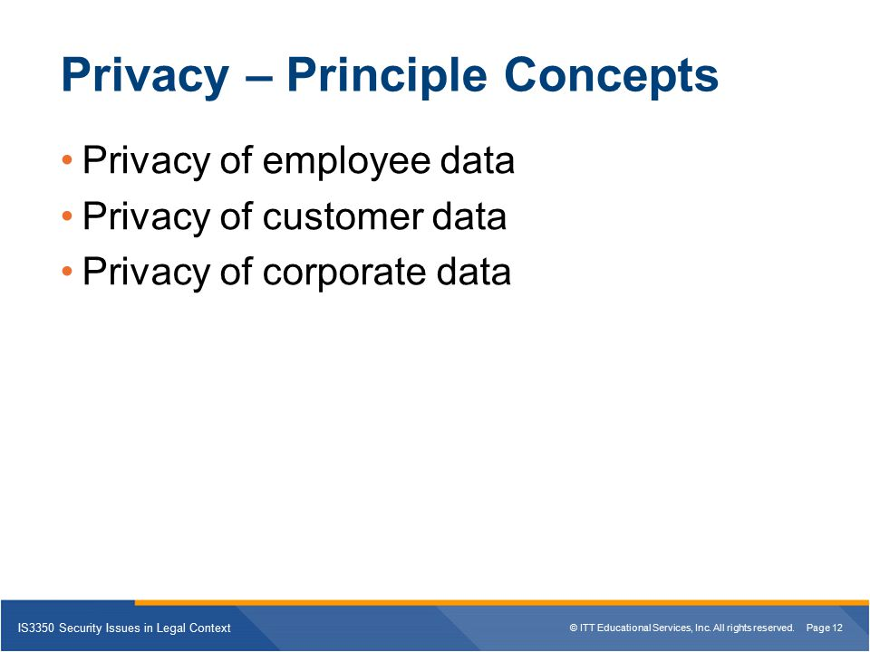 Privacy – Principle Concepts