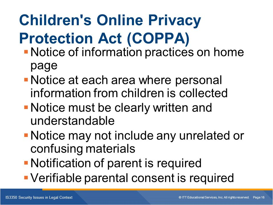 Children s Online Privacy Protection Act (COPPA)