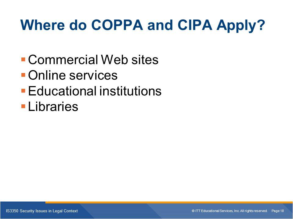 Where do COPPA and CIPA Apply