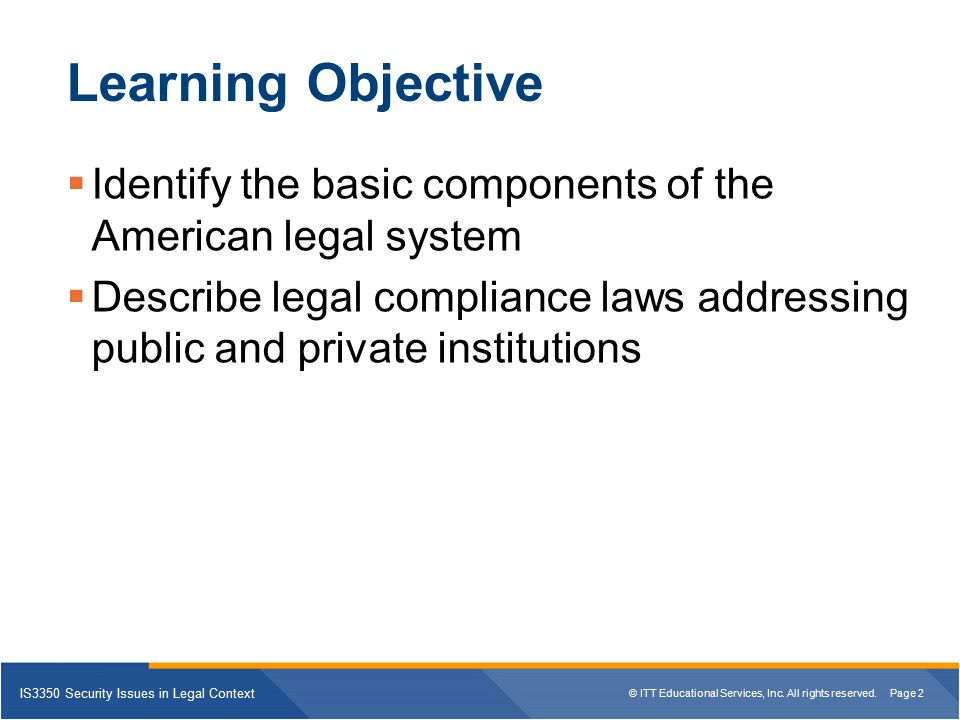 Learning Objective Identify the basic components of the American legal system.