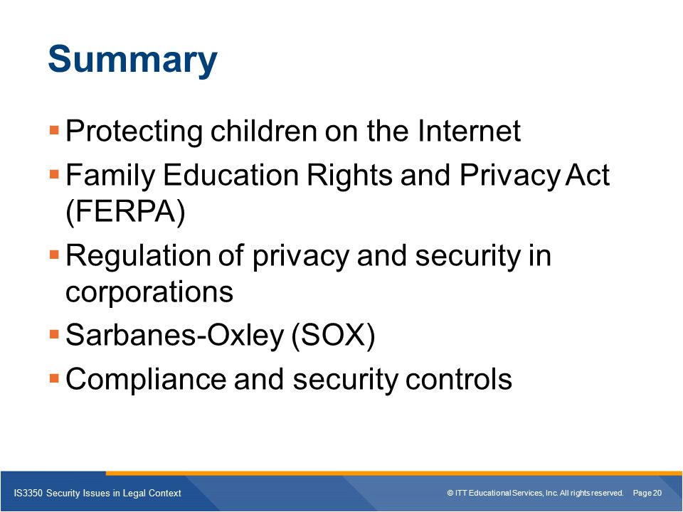 Summary Protecting children on the Internet