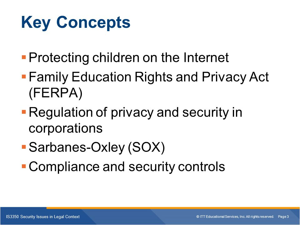 Key Concepts Protecting children on the Internet