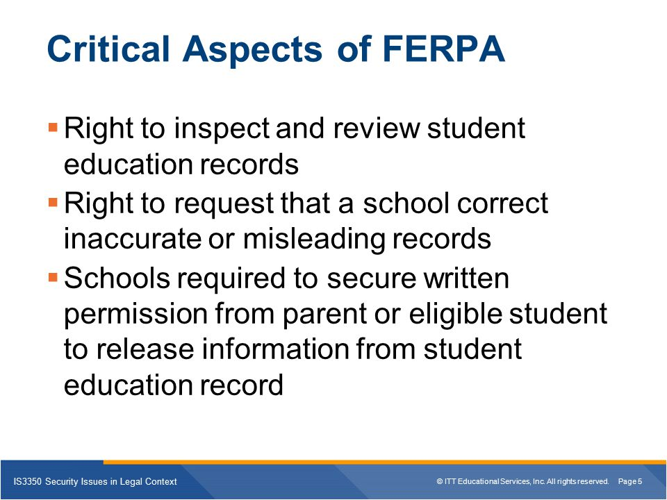 Critical Aspects of FERPA