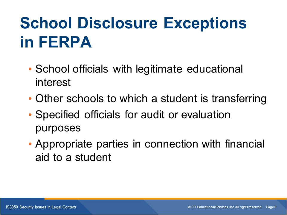 School Disclosure Exceptions in FERPA