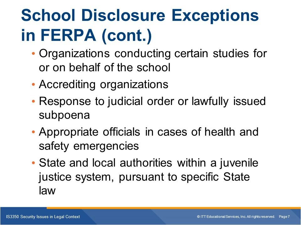 School Disclosure Exceptions in FERPA (cont.)